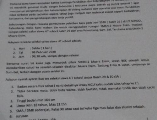 INFO TERBARU : PENERIMAAN  SISWA BARU UT SCHOOL TAHUN 2020 (perbaikan formulir pendaftaran online lihat point 7)